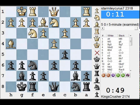 Chess World.net: LIVE Blitz #1232 vs starmileycyrus7 (2318) - King's Indian: Torre attack (A48)