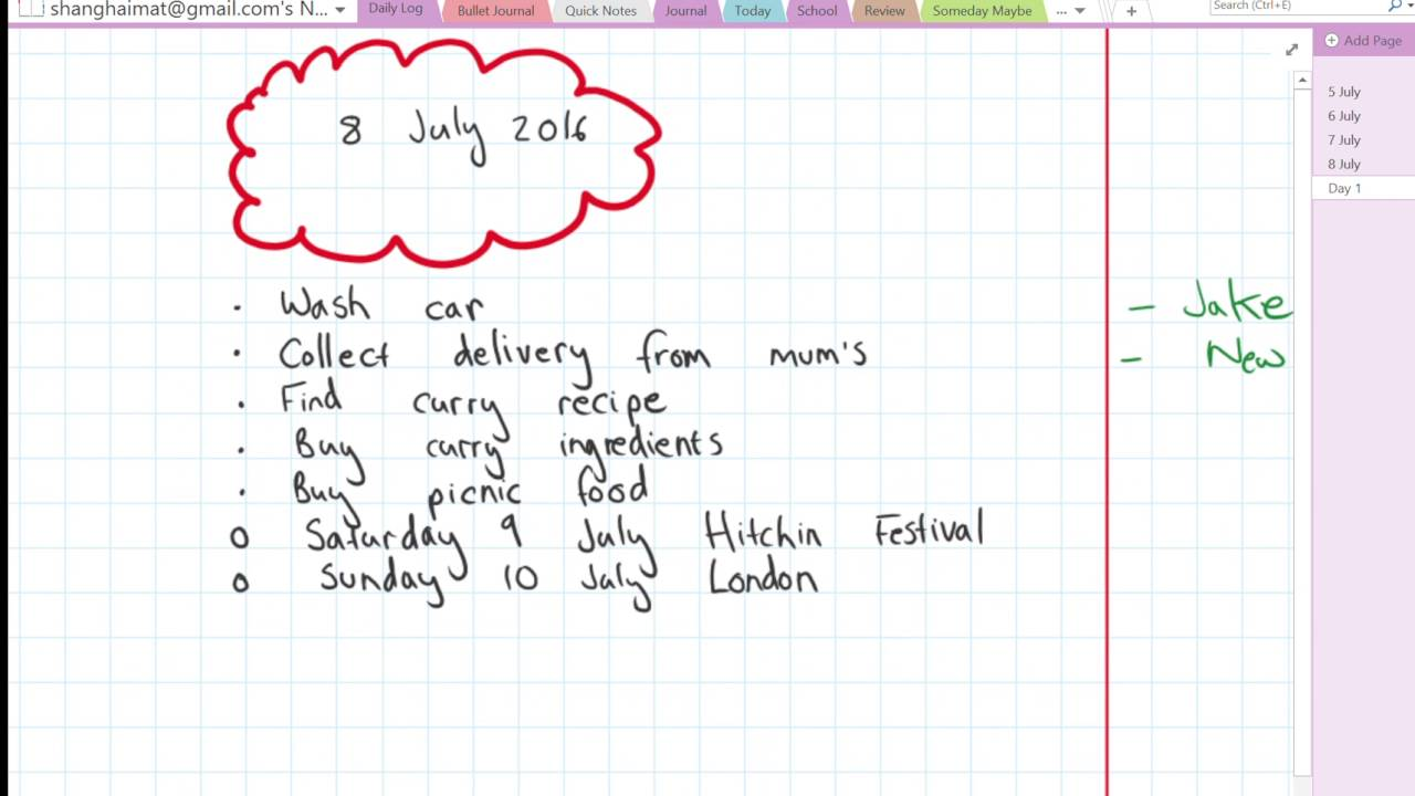 Bullet Journal on OneNote 2016 - YouTube