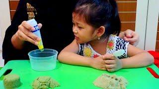 Cara Membuat PASIR AJAIB Mudah 100% Berhasil   Pasir Kinetik   Mainan Anak Pasir-Pasiran