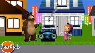 masha and the bear vs angry pigs cartoon race on machines cars 2015