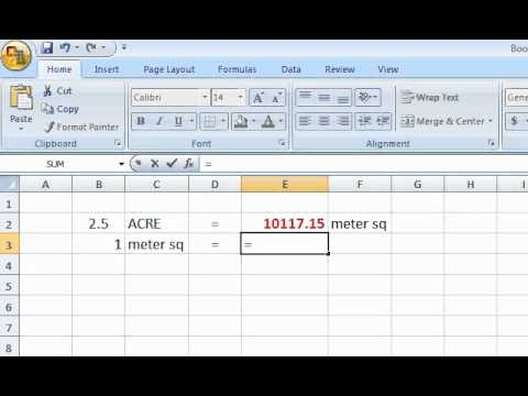 Excel Formula Acre Meter Sq Youtube