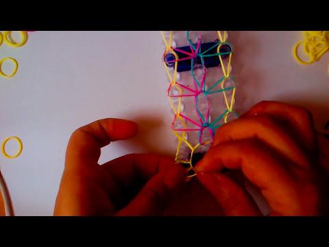 TUTORIAL Como se hace pulsera con gomitas o ligas GOTAS DE LLUVIA con telar rainbow loom EN ESPAÑOL