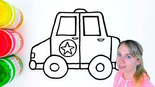 Police Car Drawing and Coloring For Kids - Coloring Pages For Children