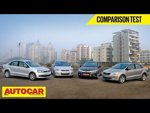 New Honda City Vs Hyundai Verna Vs Skoda Rapid Vs VW Vento   Comparison Test   Autocar India