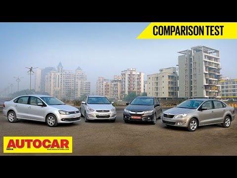 New Honda City Vs Hyundai Verna Vs Skoda Rapid Vs VW Vento   Comparison Test   Autocar India