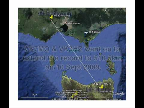 Amateur Radio 10GHz digital record across Bass Strait in VK