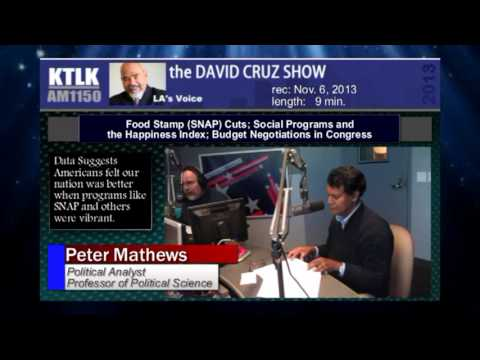 Food Stamp (SNAP) Cuts; Social Programs and the Happiness Index; Budget Negotiations in Congress