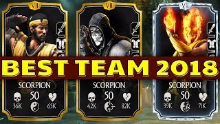 MKX Mobile BEST TEAM 2018. Undefeated 3 Scorpions Team. INCREDIBLE DAMAGE!