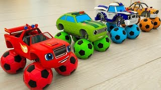 Assembly Learn Colors Street Vehicle Tire with Rainbow Soccer Balls. Monster Machine Blaze for Kids