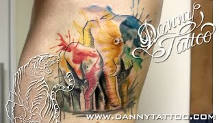 Elefantes Aquarela - Danny Tattoo - Elephants WaterColor Tattoo - TimeLapse