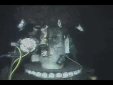 BP Oil Spill - Ent. ROV1 views final attempt to place cap back onto riser stub