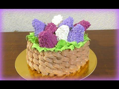 3 д Торт Корзина с сиренью МК Как сделать торт корзину с цветами Cake Basket with Lilac MK