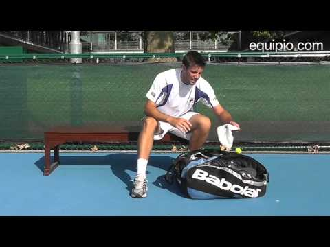 British tennis player Chris Eaton tells equipio.com what&#039;s in his sports bag. http://www.equipio.com.