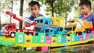 Build Bridge Construction Vehicles Toys for Children | Colored toy blocks and car for kids