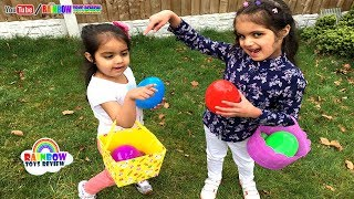 Easter Egg Hunt Surprise Toys Challenge for Kids Pretend Play Little Baby Sisters Rainbow ToysReview