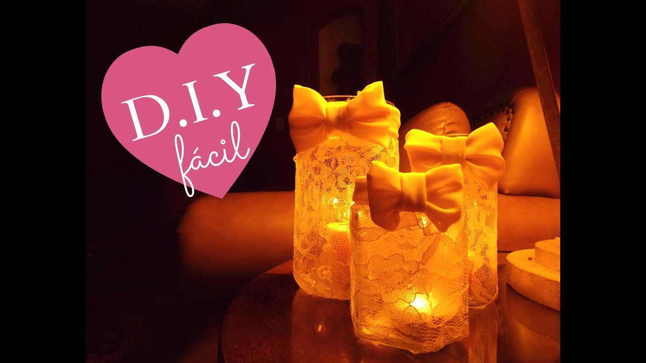 DIY Lace Candles Convierte Unos Frascos En Velas Muy