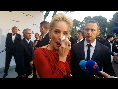 Sharon Stone Cries on the Red Carpet at amfAR Cinema Against Aids Gala in Cannes