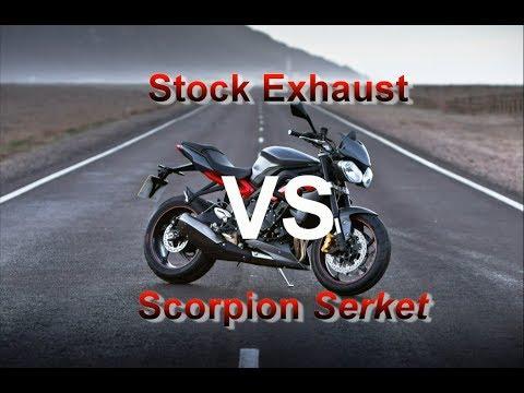 Scorpion Serket Vs Stock Exhaust - 2013 Triumph Street Triple