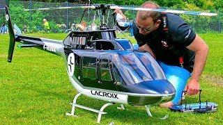 HUGE XXL RC BELL-206 JETRANGER SCALE MODEL ELECTRIC HELICOPTER FLIGHT DEMONSTRATION