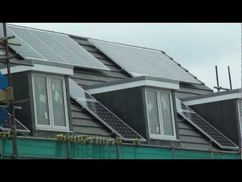 Solar roof panels fitted in a new build development in Sidcup, (Kent, London, U.K.) - 10th Sept 2011