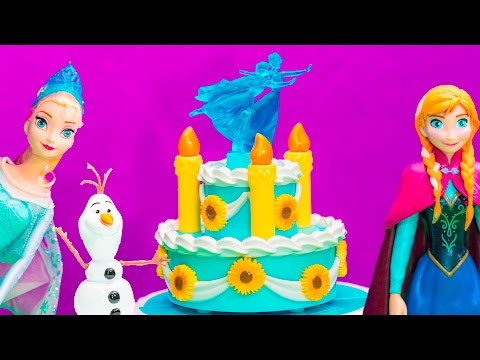 FROZEN FEVER ELSA Disney Anna's Birthday Cake Playset Frozen Video Toy Review