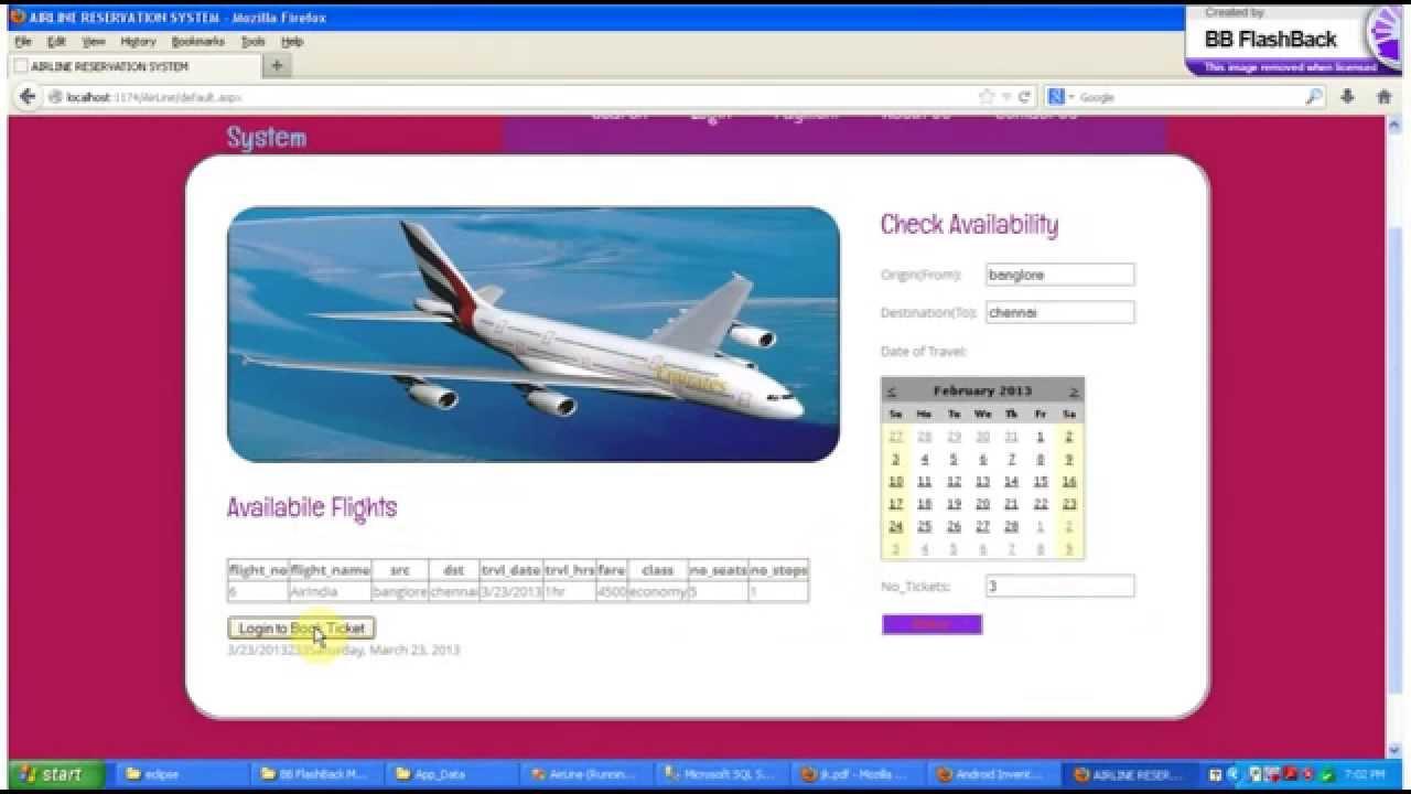 airline ticket reservation