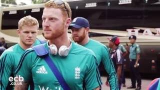 On the team bus as England head to training in Bangladesh