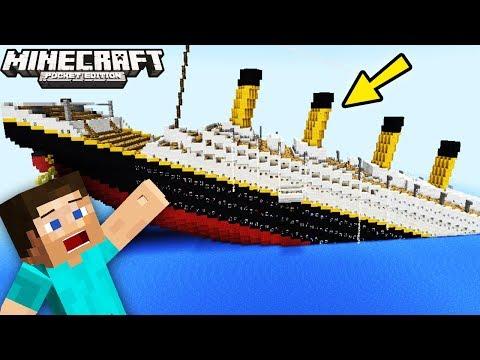 'TITANIC SINKING IN MCPE' (Minecraft Pocket Edition, Minecraft PE Mods, Titanic Movie Game)