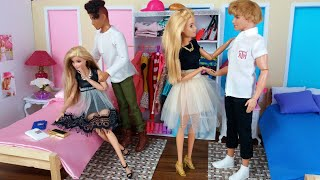 Two Barbie doll Two Ken Morning Routine. Life in a Dreamhouse. Barbie video for Kids.