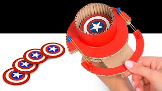 Captain America Shields And Rubber Bands | Fun Cardboard Slingshots