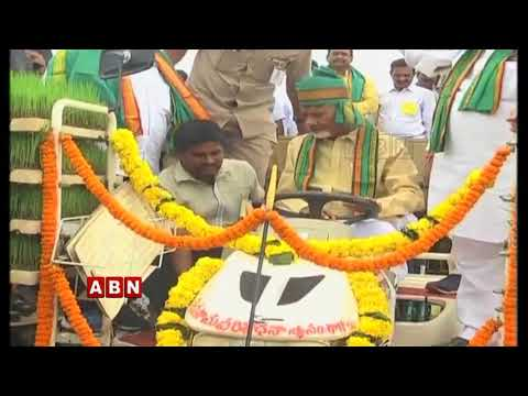 AP CM Chandrababu Naidu Drives Tractor