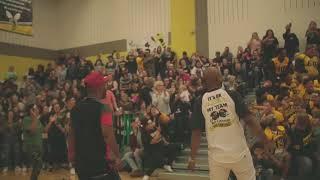Lil' Will Suprises Denison Highschool Pep Rally w/ Former Yellowjacket Dawon Gentry