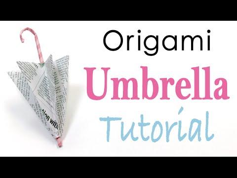 Paper Umbrella, Parapluie Origami Easy Tutorial - Origami Kawaii
