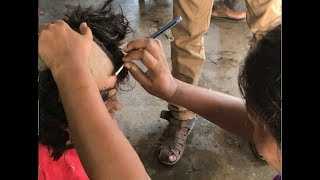 School Girl gives away Her Hair | Street Barbershop | Indian Traditional |