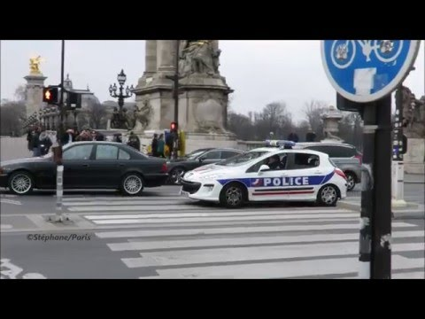 Paris police cars responding (compilation)