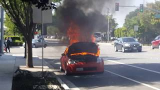 Car catches on fire at Fremont bvd Centervill