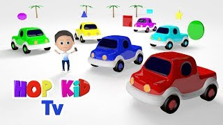 Learn Shapes with Toy Pickup Trucks | 3d Colored Vehicles for Kids | Hop Kid Tv