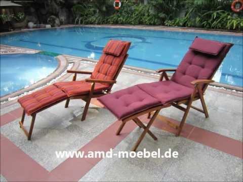 Www.amd-moebel.de - Deckchair Rot Gartenmöbel-Auflage