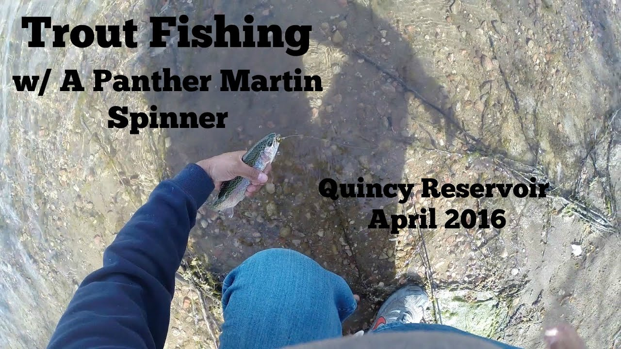 Trout Fishing with A Panther Martin Spinner   Quincy Reservoir April 2016