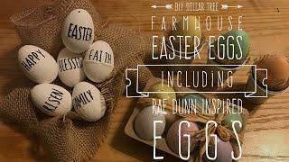 2018 Spring DIY and Challenge DIY Dollar Tree Farmhouse Easter Eggs Including Rae Dunn Inspired Eggs