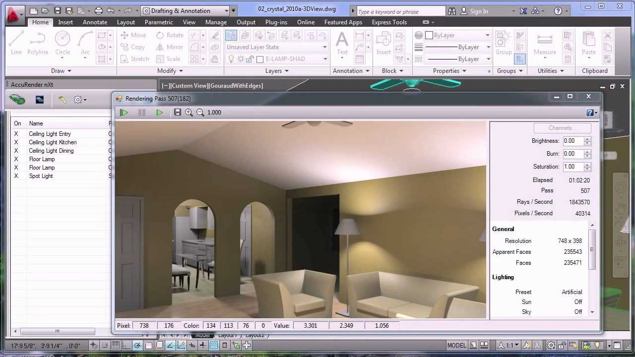 Interior Lights For Rendering In Autocad With Nxtrender
