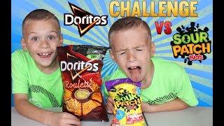 Twins Doritos Roulette vs Sour Patch Challenge!