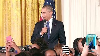 Obama Surprises Guests at the
