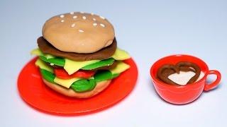 Làm bánh hamburger bò cực đẹp và hấp dẫn bằng bộ đồ chơi nấu ăn bằng đất sét Play Doh