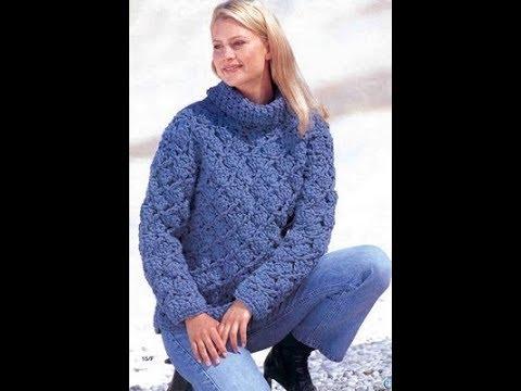 Вязание крючком.Синий пуловер. РАЗБОР УЗОРА+схема+выкройка+описание