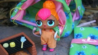 LOL SURPRISE DOLL Cutie Runs Away And Camps, BARBIE Goes Crazy When She Finds Out!