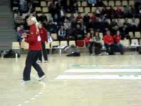 Danish female handball team warming up
