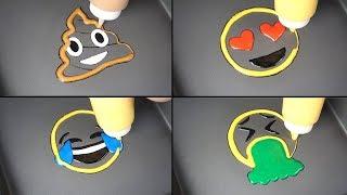 Emoji Pancake Art - Poop, Heart Eyes, Tear Face, Vomit