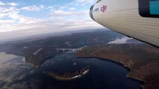 Dalešická přehrada a obec Hartvíkovice z leteckého pohledu