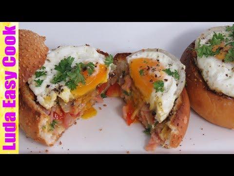 ЗАВТРАК ЗА 10 МИНУТ ЯЙЦО В БУЛОЧКЕ С ВЕТЧИНОЙ И СЫРОМ   10 MIN BREAKFAST IDEAS Eggs in Bread Bowls